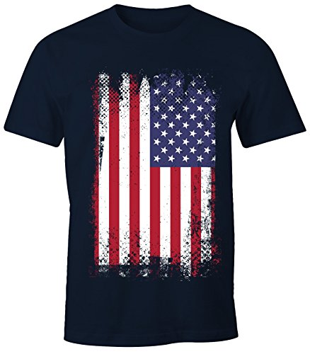 MoonWorks Herren T-Shirt - Amerika Flagge USA Flag United States of America - Comfort Fit Navy XL