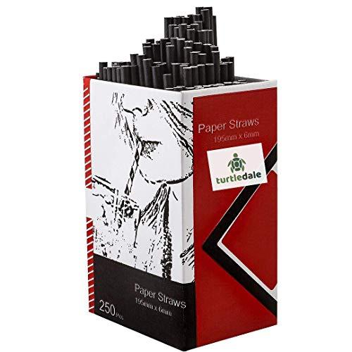 250 cannucce di carta biodegradabili | nero 20 cm