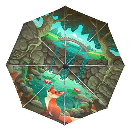 Wamika Regenschirm, Motiv: Fuchs in der Nähe von Teich, automatischer Regenschirm, Wald, Winddicht, wasserdicht, UV-Schutz, 3-Fach faltbar, automatisches Öffnen/Schließen, für Sonne und Regen