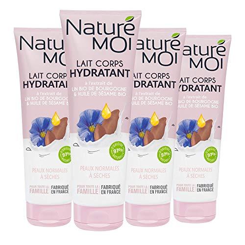 Naturé Moi - Lait Corps Hydratant à l'Extrait de lin Bio de Bourgogne et l'Huile de Sésame - Hydrate et Nourrit les Peaux Normales et Sèches - Lot de 4 - 250ml