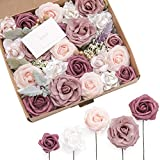 Ling's moment Dainty Dusty Rose Artificial Wedding Flowers Combo for Wedding Bouquets Centerpieces...