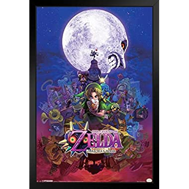 Pyramid America The Legend of Zelda Majoras Mask Nintendo Fantasy Video Game Series Link Princess Framed Poster 14x20 inch