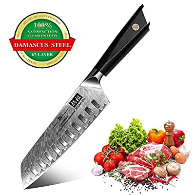 Chef Knife, SHAN ZU Santoku Kitchen Knife 18 cm Professional Cutlery Cooking Chef Knives Ultra Sharp Damascus Stainless Steel Blade for Fruit Vegetables Meats Home Restaurant Travel