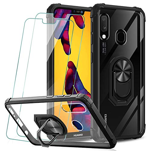 KEEPXYZ Funda Huawei P20 Lite + 2 Pcs Protector de Pantalla Cristal Vidrio Templado, Dura PC Transparente/Negro Silicona TPU Bumper Carcasa / 360 Grados iman Soporte para Huawei P20 Lite