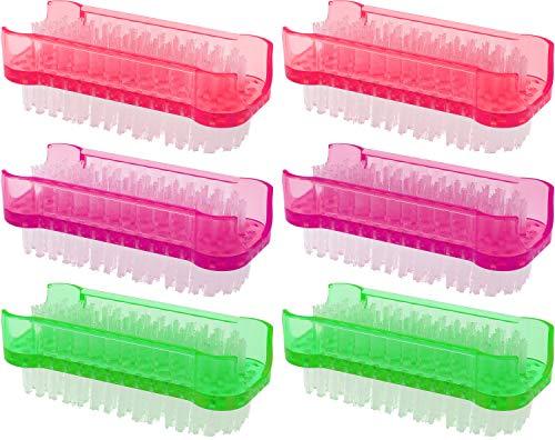 com-four® Brosse de Lavage à la Main 6X aux Couleurs Vives - Brosse à Ongles pour Le Nettoyage des Mains et des Ongles [la sélection varie] (6 pièces - Vert + Rose + Violet)
