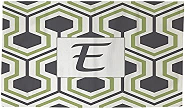 Manual Woodworkers & Weavers Dobby Bath Rug, 4 by 6-Feet, Monogrammed Letter E, Grey Honeycomb