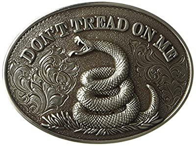 Nocona Men's Don't Tread Oval Buckle, silver, One Size