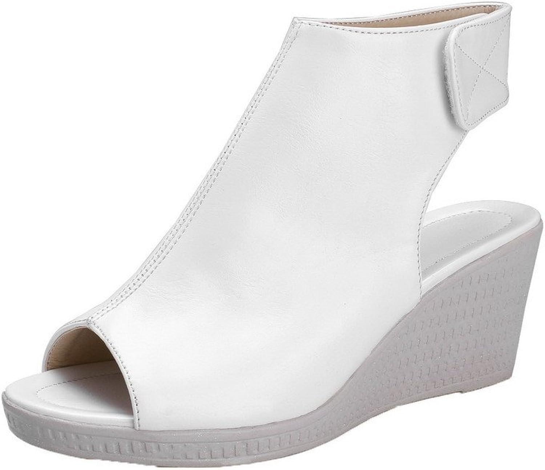 WeenFashion Women's Kitten-Heels PU Solid Hook-and-Loop Peep-Toe Sandals