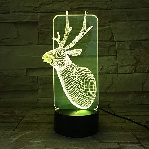 Niedliches Weihnachtsrotwildlichtfarbnotenschlafzimmerlampenatmosphärendekorationslampenfamilienvater-Kindergeschenk