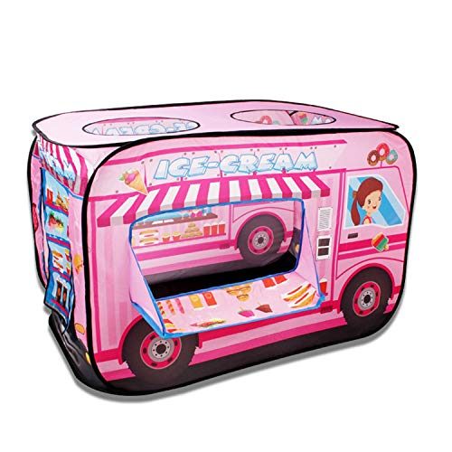 Tents Pink Dessert Cart, Yellow School Bus, Dream Puzzle Playhouse Play for Children - Pop Up with Roll-up Door (Color : Pink, Size : 70 * 113 * 71CM)