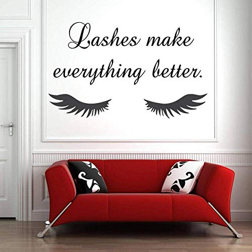 Wall Sticker Eye Eyelashes Wall Decal Sticker Lashes Extensions Sourcils Brows Beauty Salon Home Decor Decals Removeable Vinyl Sticker 42X25Cm