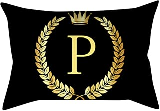 UROSA Letter Pillowcase Sofa Cushion Cover Home Decor Pillow Cover Black and Gold30X50cm