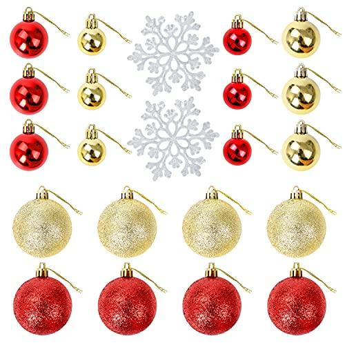 Joyololf 30 Decoration Sapin Noel- 20 Ornements Décoratifs Boule Noel Anti-Durables avec 10 Morceaux de Flocon de Neige Pendentif Famille Décoration de Vacances