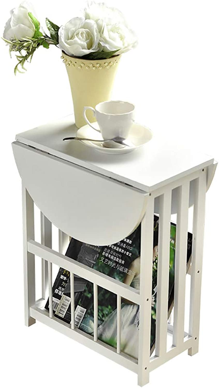Folding Tables, Wooden Multi-Purpose Fold Away Table, 360° Desktop redation Design, Living Room Sofa Foldable Small Coffee Table Side Table, Mini Balcony Corner fold up Table (color   White)