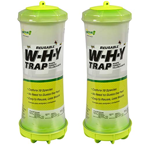 RESCUE! WHY Trap for Wasps, Hornets, & Yellowjackets – Hanging Outdoor Trap - 2 Traps