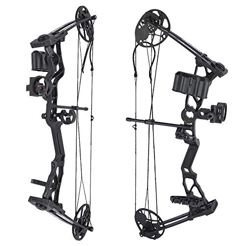 SHARROW Youth Compound Bow Archery Set 14 40lbs Adjustable Junior Compound Bow and Arrow Set Children Bow with All Accessories for Kids Beginners Outdoor Shooting Training Type 1Black