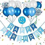 Vicloon Cumpleaños Decoracion de Fiesta Temática Azul,Cumpleaños para Fiesta con Banner,Globo Decoración Globos de Latex para Niñas Niños Cumpleaños Fiesta