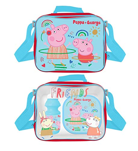 Peppa and George Pig Lunch Bag, Sandwich Box and Bottle Set, 3 Pieces