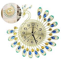 Yosooo Modern 3D Peacock Shape Wall Clock, Large Iron Non Ticking Silent Clock for Living Room, Bedroom, Home Wall Art Decoration