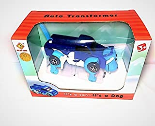 YEEMAX 2 in 1 Wind Up Toys - Auto Shape Shifting Dog Car Toy - Non-Batteries and Portable - Ideal Gift for Preschooler (Blue)