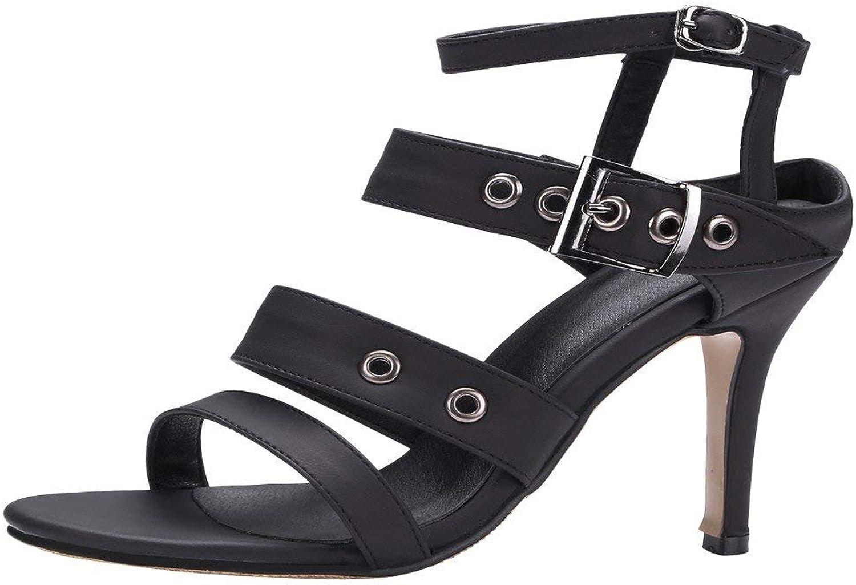 Lelehwhge Women's Sexy Open Toe High Heel Ankle Strap Sandals Black 8 M US
