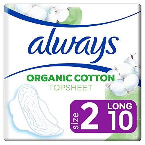 Always Ultra Binden Damen Organic Cotton Gr. 2 (10 Damenbinden mit Flügeln) sicherer Schutz und Tragekomfort, Oberfläche 100{b223bae7d7fce1370a921cd3a6b829888f0c2bec092078eadf188bc45468a8c8} Bio-Baumwolle