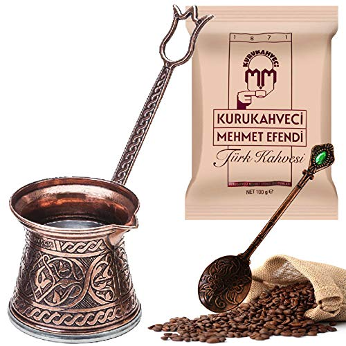 Gießen und Schnitzen Türkische Kaffeekanne (Set von 3 für 2 Personen) 100 Gramm Türkischer Kaffee Griechische Arabische Kaffeemaschine Doppelstöckig Stahlboden Cezve - Kupfer Design Herd Induktion