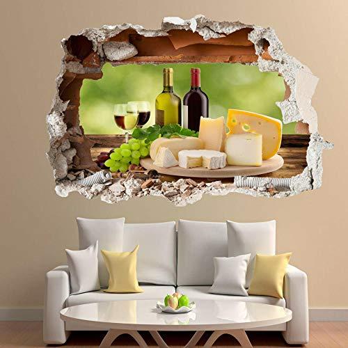 Pegatinas de pared de vino de uvas de queso de lujo 3D Art Mural Room Office Shop Decoración 50x75cm