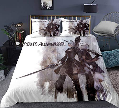 Ruitorly bettwäsche 155x220cm,NieR Automata Bettwäsche Set Automata Bettbezug und 50x75cm Kissenbezug,Bettbezüge für Jungen und Mädchen,#20,3D Bettwäsche