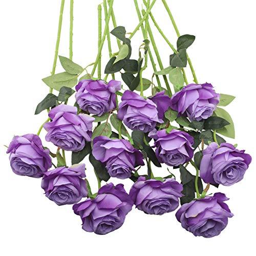 Decpro 12 Piezas de Rosas Artificiales, Flor de Seda de un Solo Tallo Largo de 19.7'' para Ramos de Novia, decoración de Hotel de Oficina, centros de Mesa, arreglos Florales(Morado Degradado)