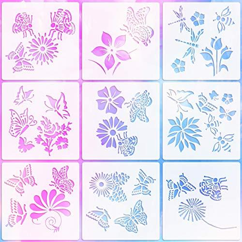 9 Stücke Frühling Themen Plastik Schablonen Schmetterlinge Blumen Bienen Vorlagen Pflanz Muster Zeichen Vorlagen Schablonen Wiederverwendbare Handwerk Schablonen zum Malen, 6 x 6 Zoll