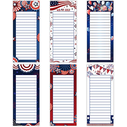 6 Pieces 4th of July Magnetic Notepads Independence Day to-Do List American Flag Designs Magnet Back-Memo Pad for Fridge Grocery Shopping List Reminders