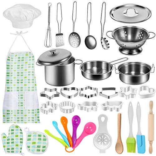 GeyiieTOYS 37 Stück Kinderküche Zubehör Küchenspielzeug Set Kochgeschirr Topf Kinderspielzeug zum Kochen Koch Rollenspiele für Kinder
