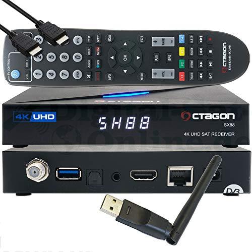 OCTAGON SX88 4K UHD S2+IP H.265 HEVC Smart Set-Top Box - Sat & Sat to IP TV Receiver, Kartenleser, Media Server, YouTube, Web-Radio, iOS & Android App, gratis EasyMouse HDMI-Kabel + 150 Mbit/s WLAN