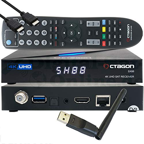 OCTAGON SX88 4K UHD S2+IP H.265 HEVC Smart Set-Top Box - Sat & Sat to IP TV Receiver, Kartenleser, Media Server, YouTube, Web-Radio, iOS & Android App, gratis EasyMouse HDMI-Kabel + 150 Mbit/s WLAN