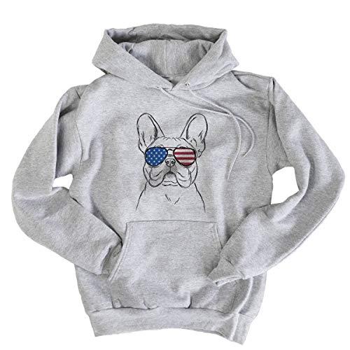 Patriotic Franco The French Bulldog Dog Men's Pullover Hoodie Sweatshirt Small Grey