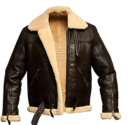 RAF Aviator Bomber Real Shearling Real Sheepskin Brown Leather Jacket (XL)