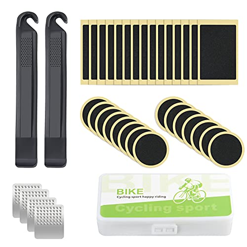 Ainiv 36 Piezas de Parches de Reparación de Bicicletas Parches de Neumáticos de Bicicleta, Kit de Parche Autoadhesivo...