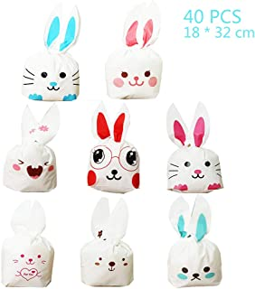 Jurxy 40PCS Halloween Bunny Candy Bags Easter Gift Wrap Bags Cookie Bread Cake Dessert Drawstring Pouch Pocket with Rabbit Ear for Party Favors Supplies -18x30CM