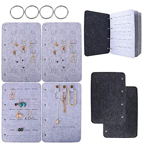 BUONDAC Joyero Carpeta Joyas Caja Joyería Estuche Fieltro Organizador de Joyas Collares Pendientes Anillos Pulseras Bisutería