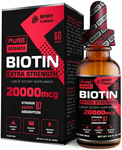 Highest Strength Pure Biotin Liquid Drops 20000 mcg 60 Servings Vegan Friendly Supports Healthy product image