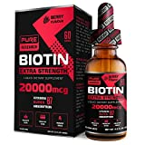 Extra Strength 20000mcg Pure Biotin Liquid Drops, 60 Servings, Vegan Friendly, Supports Healthy Hair Growth, Strong Nails and Glowing Skin, 3X More Absorption Than Capsules or Pills