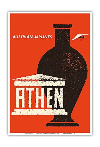 Athènes, Grèce - Amphore Grecque Antique - Austrian Airlines - Affiche Avion de Otto Peterseil c.1965 - Impression d'art 33 x 48 cm
