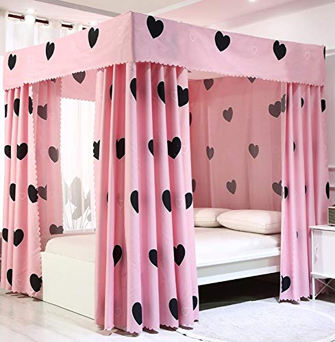 JOYLIFE Princess Four Corner Post Bed Curtain Canopy Mosquito Net for Girls Adults Kids (Heart, Twin)