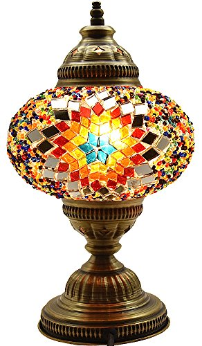 Lámpara de noche de mesa de cristal marroquí turco con base de bronce, 18 cm