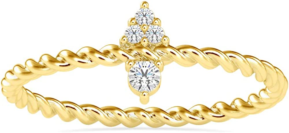 Certified Lightweight Solitaire Ring Studded 4 pcs Round Cu Max 80% OFF with High quality