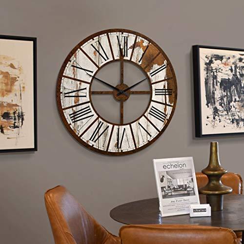 K&L Wall Art Lautlose XXL Küchenuhr riesige Wanduhr aus Holz Uhr 70cm große Wanduhr Vintage Holzuhr mit Quartz Uhrwerk (Rustikal, Ø 70 cm)