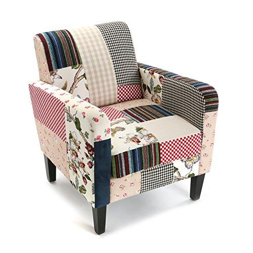 Versa Romantic Patchwork Sessel für Wohnzimmer, Schlafzimmer oder Esszimmer, bequemer und Anderer Sessel, mit Armlehnen, Maßnahmen (H x L x B) 77 x 65 x 15,5 cm, Baumwolle und Holz, Farbe: Blau