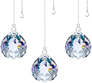 JIHUI Crystal Prism Ball Window Suncatcher Rainow Maker 30mm/1.18 inches with Chain for Easy Hanging Pack of 3