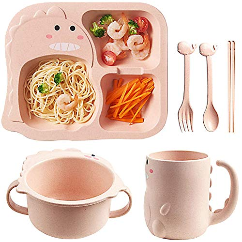 SZWL Kids Divided Plate, Kids Plate Bowl, Plate Dinnerware with Kids Contains children's dinosaur plate & tableware, binaural bowls and cups, healthy wheat straw tableware (6-piece cutlery set)